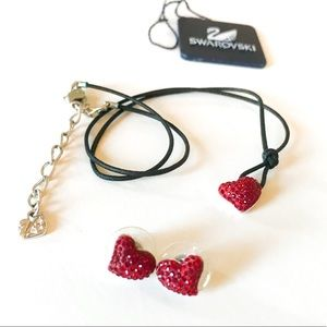 Swarovski Set Red Heart Earring & Necklace